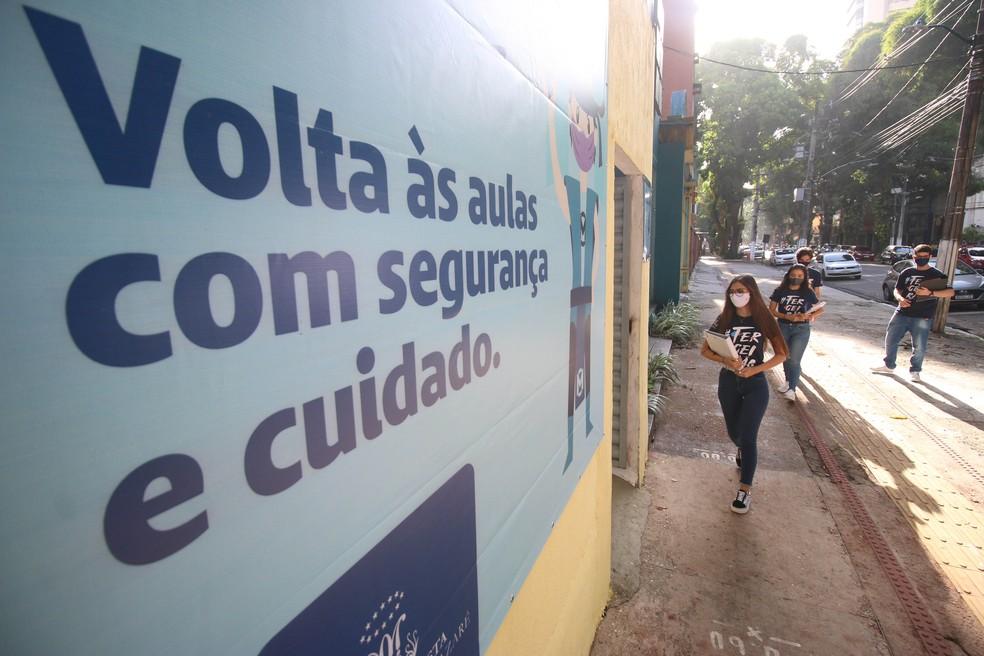 Escola particular em Belém suspende aulas após criança testar positivo para Covid-19. — Foto: Igor Mota / O Liberal