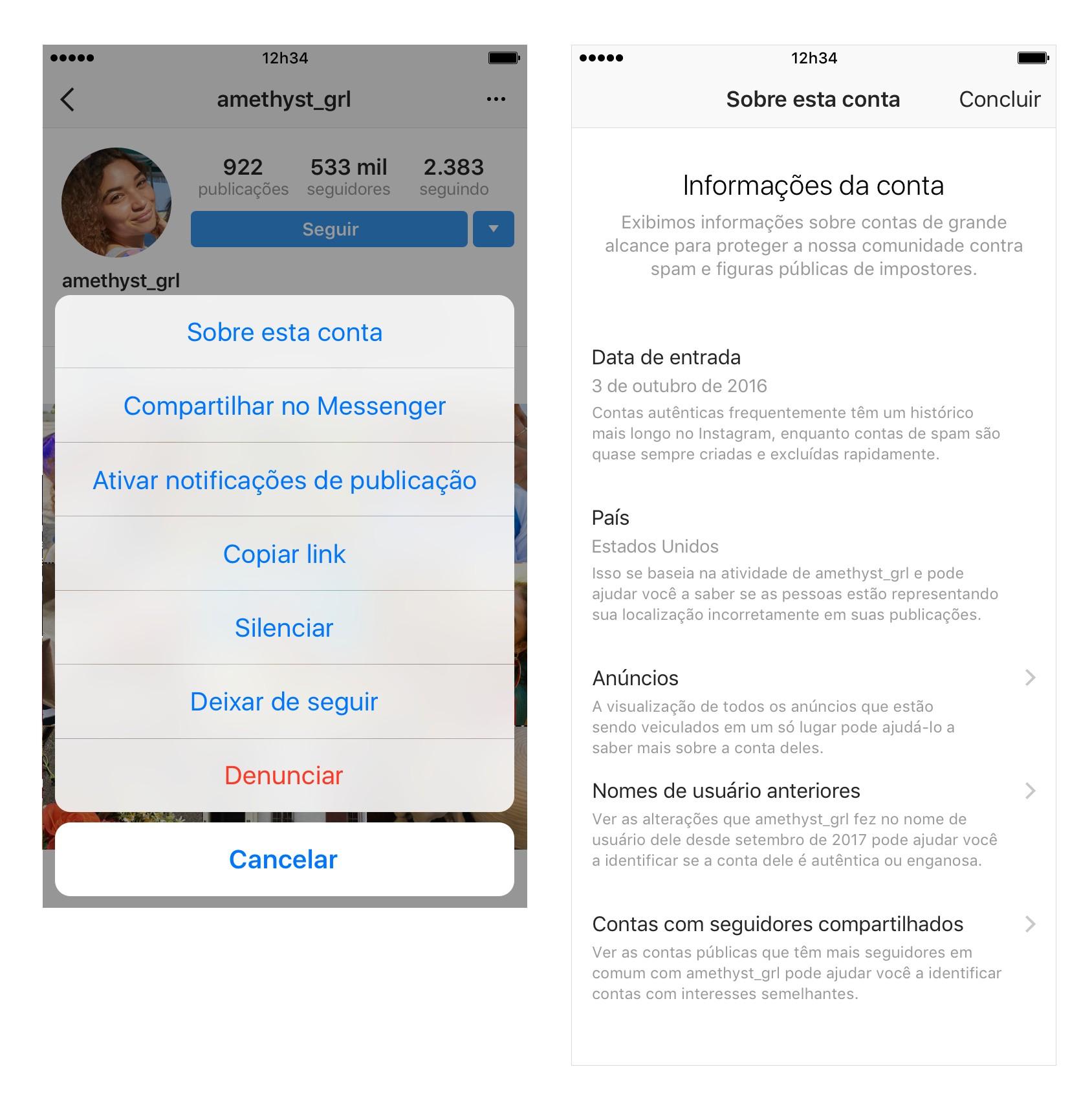 Telas com informações sobre conta do Instagram, novidade anunciada hoje (Foto: Divulgação/Instagram)
