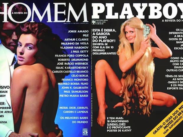 Capas da primeira Playboy, de agosto de 1975, e da primeira edição com o nome estampado, de julho de 1978. (Foto: Reprodução/Playboy Brasil/Facebook)