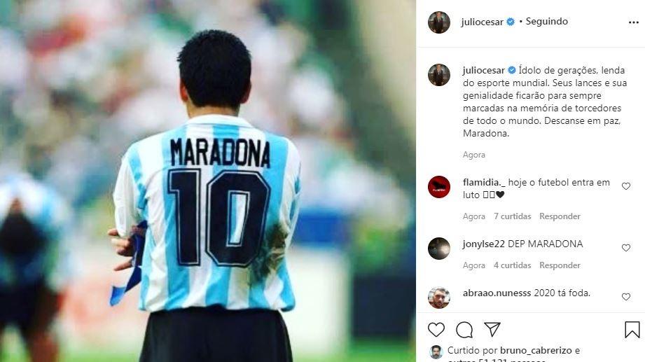 Julio Cesar homenageia Maradona (Foto: Reprodução/ Instagram)