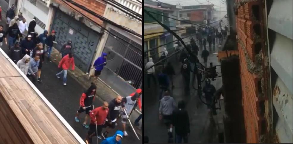 Torcedores se envolvem em briga em Ferraz de Vasconcelos neste domingo (14) — Foto: Reprodução/Redes Sociais