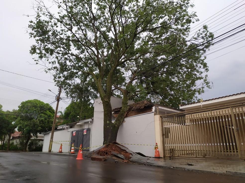 Tempestade de poeira provocou estragos em Presidente Prudente (SP) na tarde desta sexta-feira (1º) — Foto: Bruna Bachega/TV Fronteira