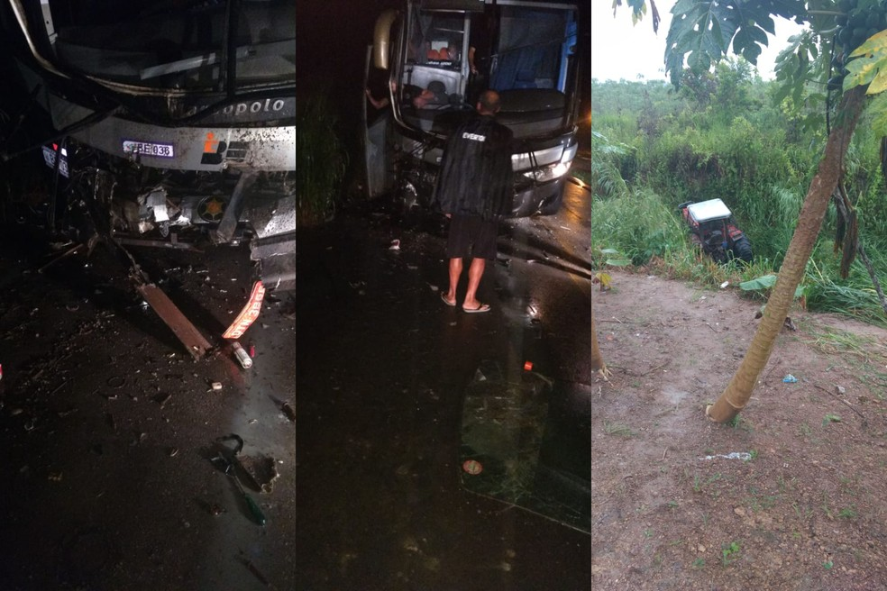 Acidente causou danos materiais, e apenas o massagista Edson Furacão, da delegação do São Raimundo, machucou levemente o braço — Foto: Reprodução/Redes Sociais