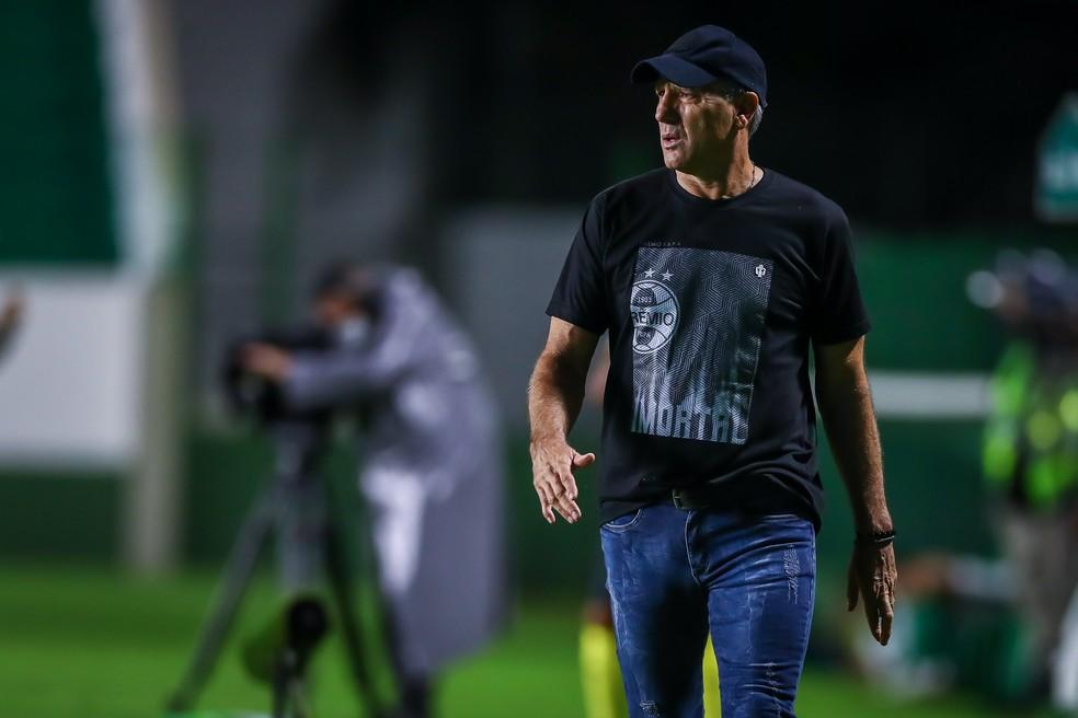 Renato Portaluppi em empate do Grêmio com o Goiás — Foto: Lucas Uebel/Grêmio