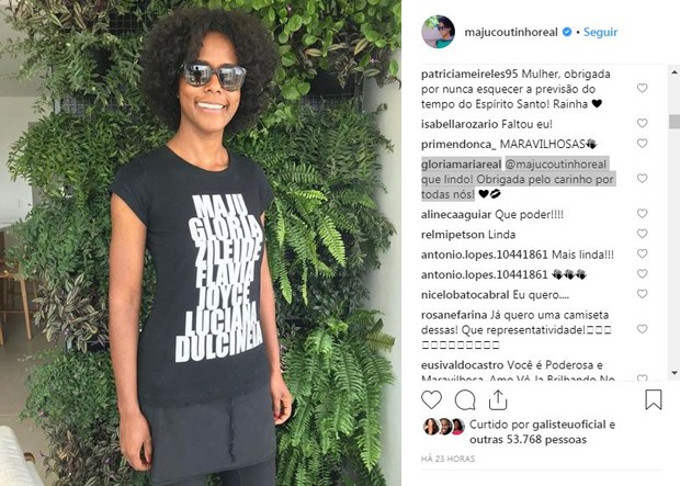 Gloria Maria agradece homenagem de Maju Coutinho (Foto: Reprodução / Instagram)