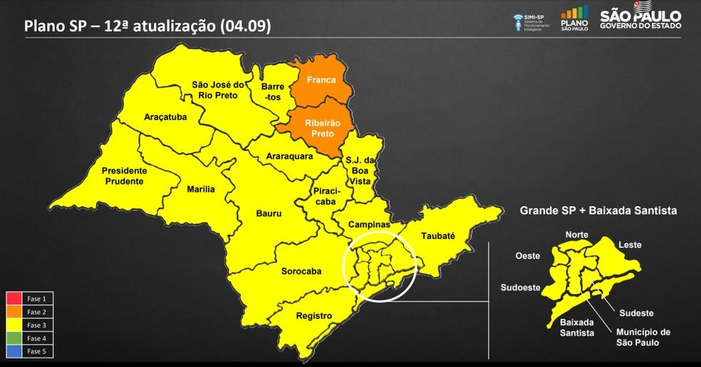 Atualização do  Plano São Paulo nesta sexta (4) (12ª atualização) — Foto: Divulgação/Governo do estado