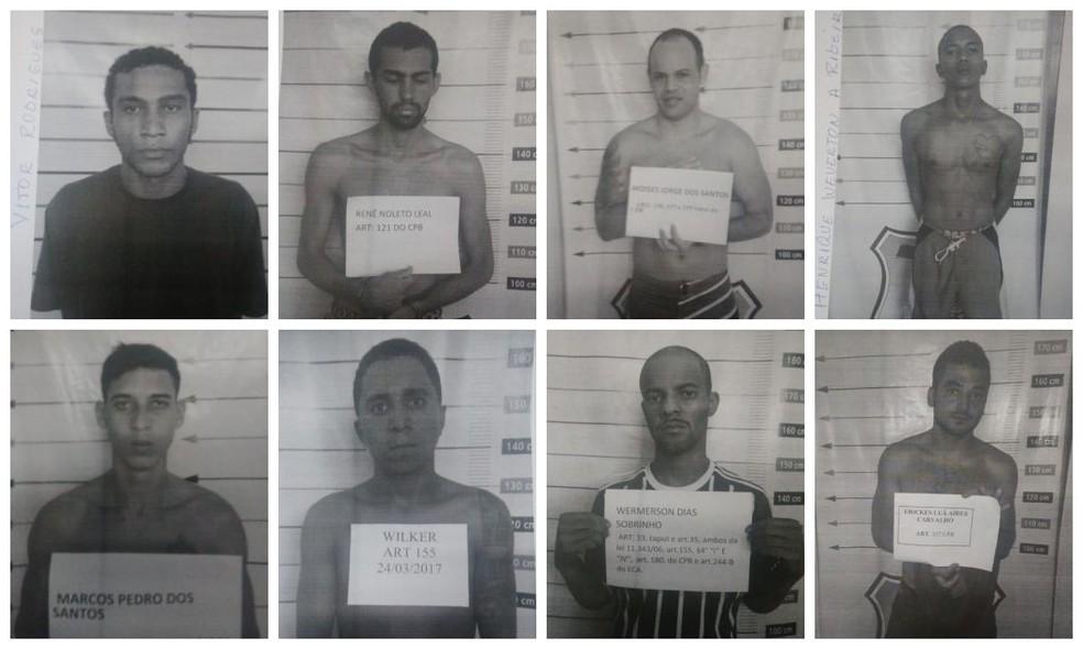 Oito dos foragidos de Miranorte (Foto: Cidadania e Justiça/Divulgação)