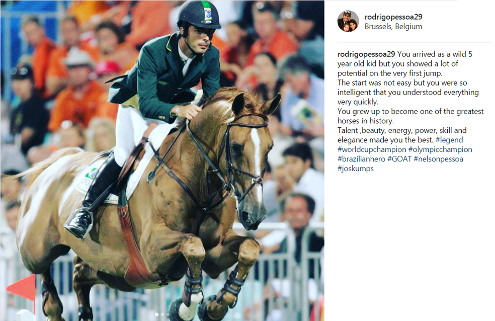 Rodrigo Pessoa postou homenagem a Baloubet du Rouet em suas redes sociais (Foto: Reprodução / Instagram)