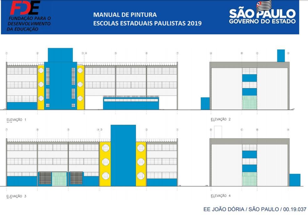 Instrução de manual de pintura do governo de SP: destaque a cores azul e amarela — Foto: Reprodução