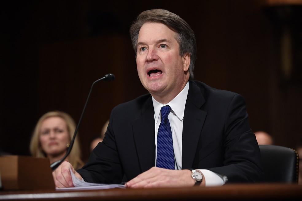 Brett Kavanaugh fala na Comissão Judiciária do Senado — Foto: AFP/Saul Loeb