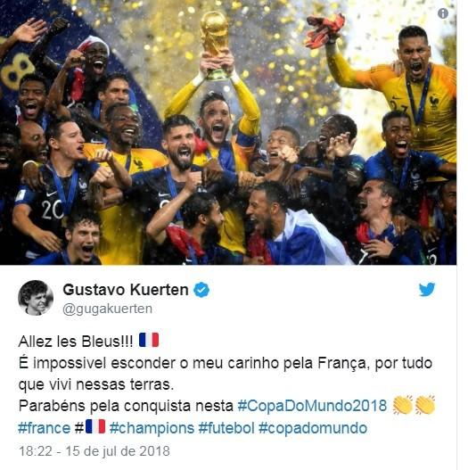 Guga parabeniza bicampeonato mundial da França