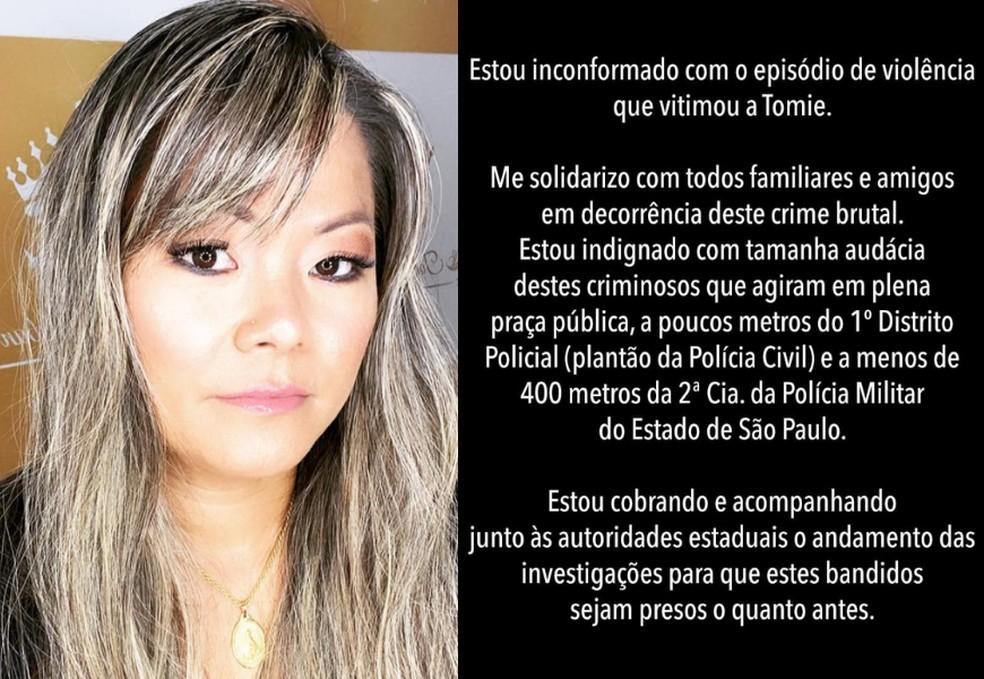 Prefeito de Itanhaém emitiu uma nota de repúdio após morte de autônoma na cidade — Foto: Reprodução