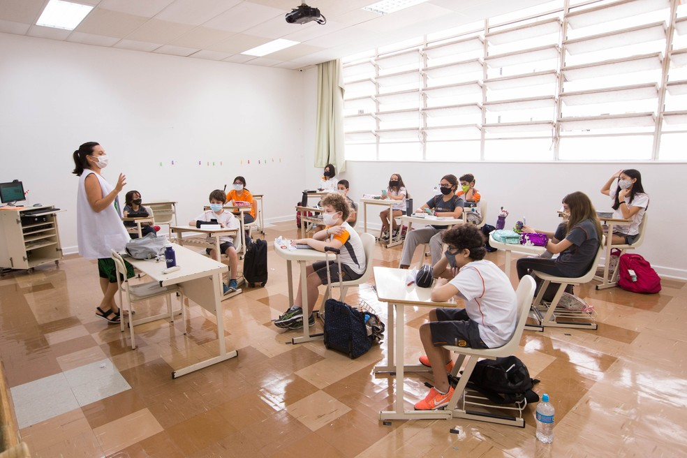 Sala de aula no retorno presencial das aulas no Colégio Rio Branco, escola particular de São Paulo, há uma semana — Foto: TIAGO QUEIROZ/ESTADÃO CONTEÚDO