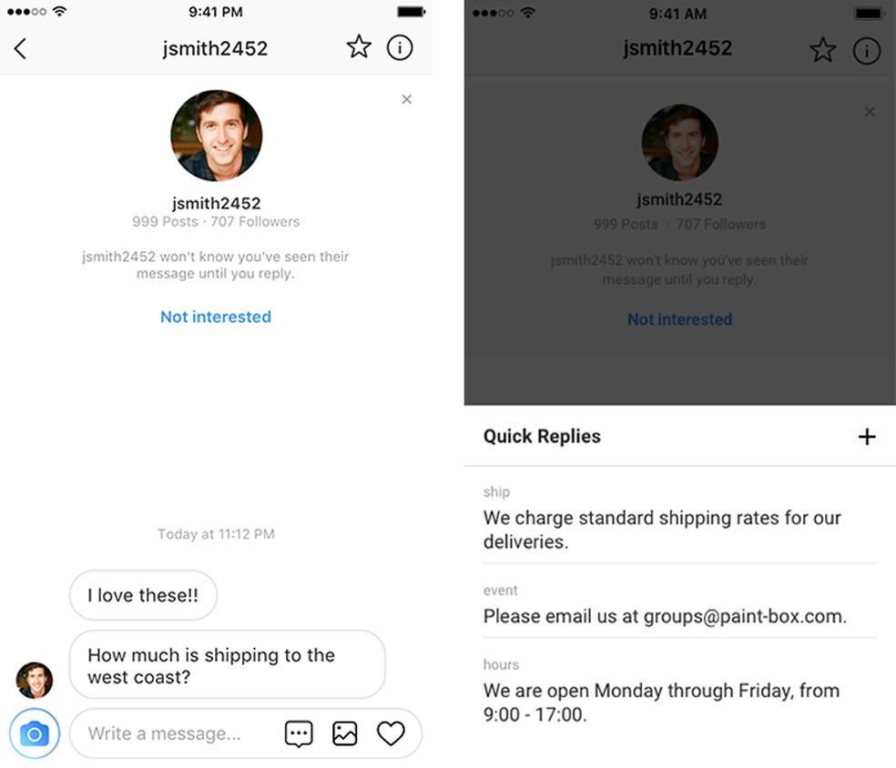 Perfis comerciais do Instagram poderão criar mensagens de modelo para usar no Direct (Foto: Divulgação/Instagram)