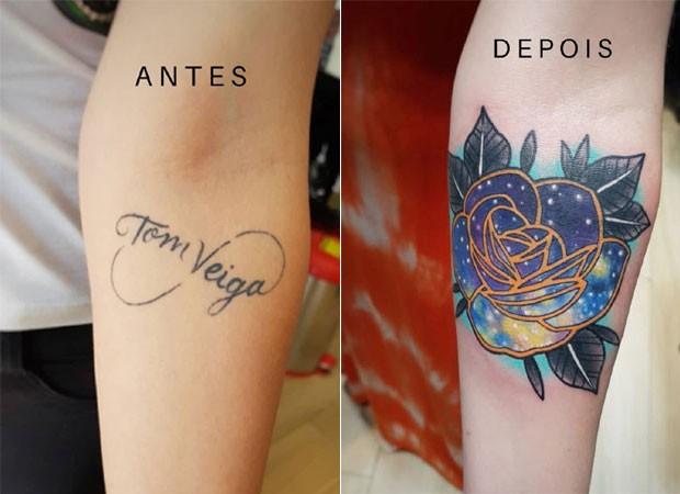 Tatuagem de Alessandra Veiga antes e depois (Foto: Reprodução/Instagram)
