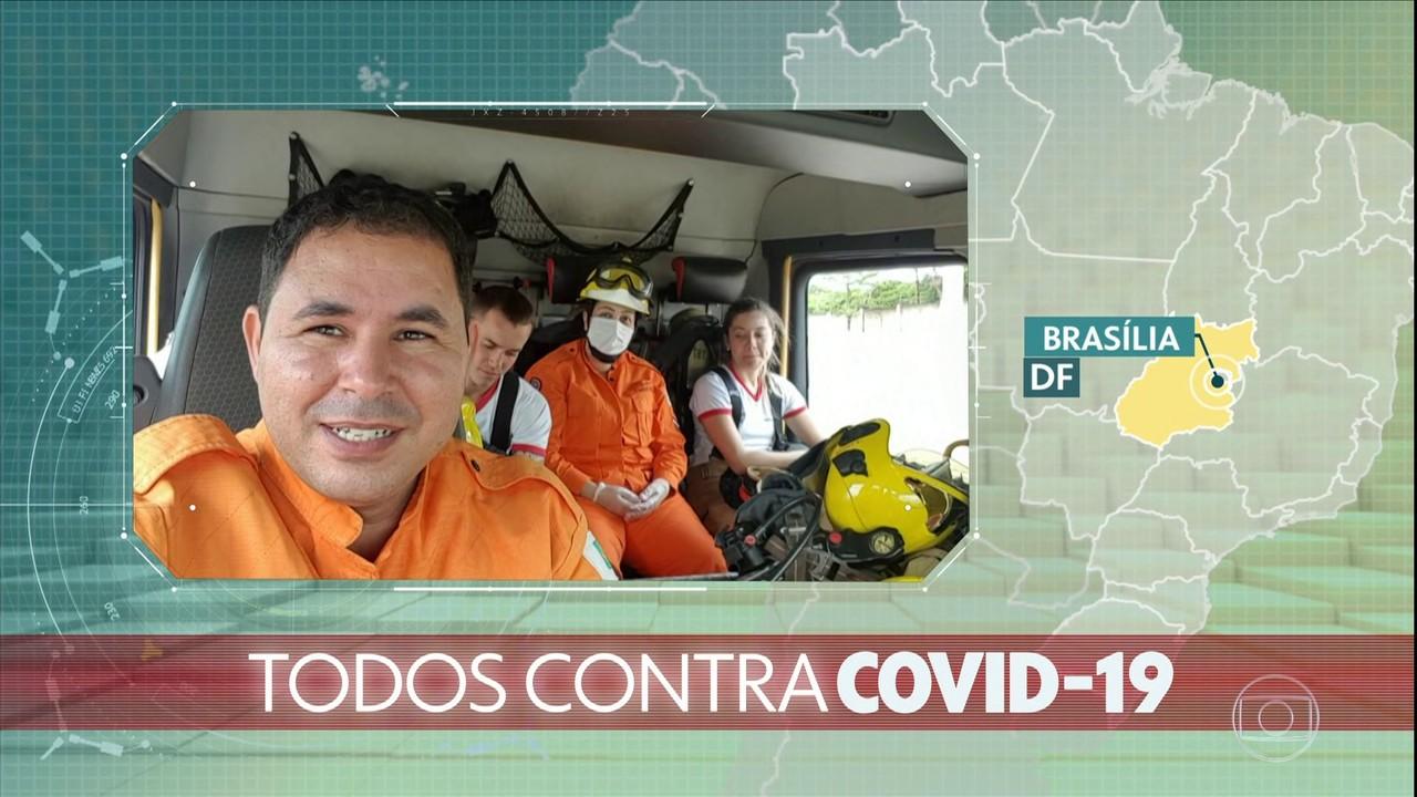 Todos contra a Covid-19: bombeiros mandam mensagem para o Jornal Hoje