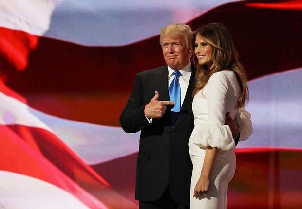 Donald Trump e a esposa, Melania, durante a convenção republicana (Foto: Joe Raedle/Getty Images)