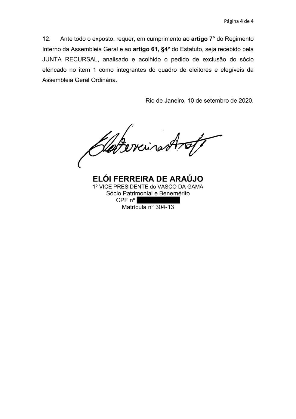 Elói Ferreira de Araújo, primeiro vice-presidente do Vasco, pede a impugnação de Alexandre Campello — Foto: Reprodução