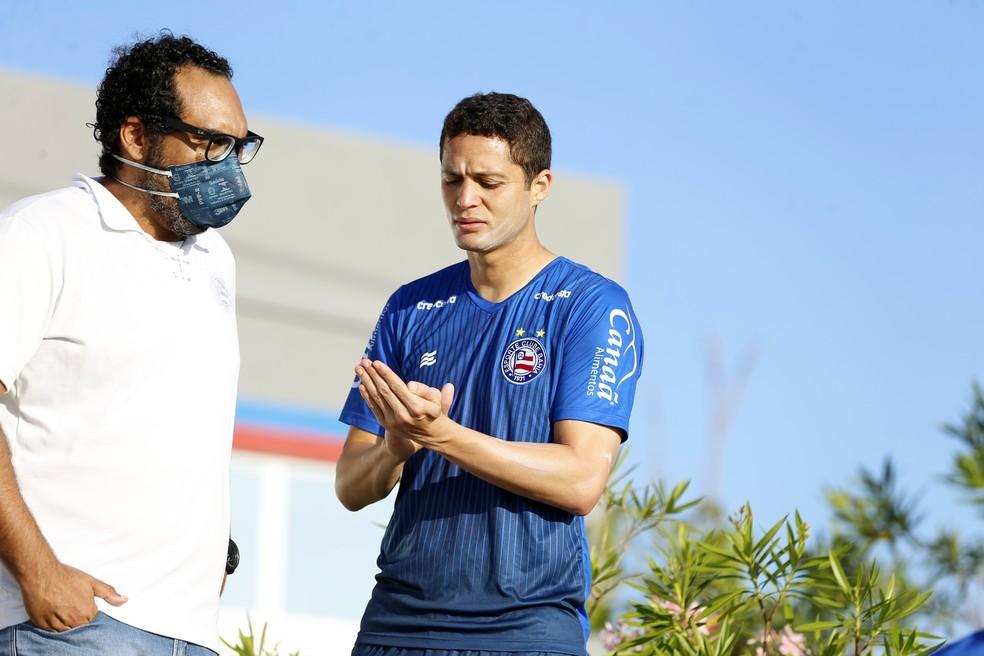 Anderson Martins em treino do Bahia — Foto: Felipe Oliveira / Divulgação / EC Bahia