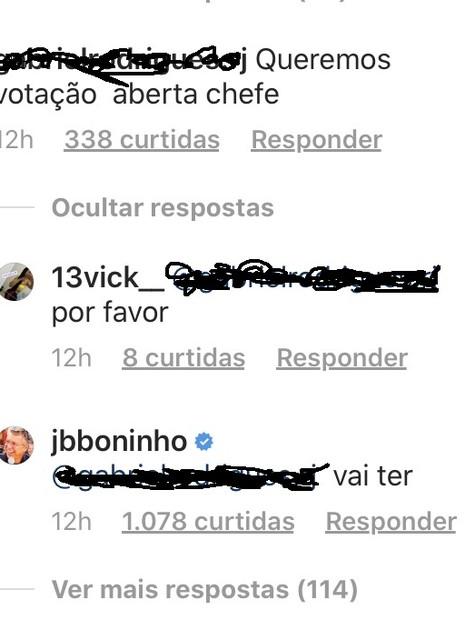 Boninho responde a seguidor nas redes sociais (Foto: Reprodução/Instagram)