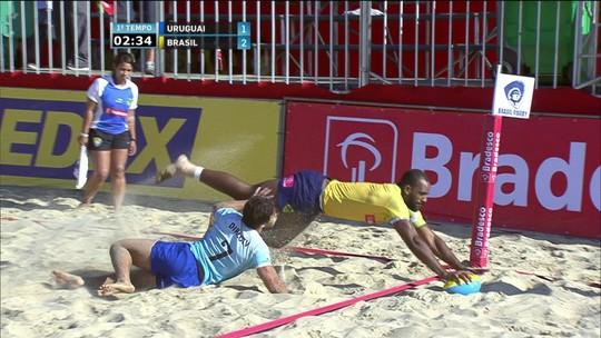 Melhores momentos: Brasil 7 x 5 Uruguai em desafio de rúgbi de praia masculino