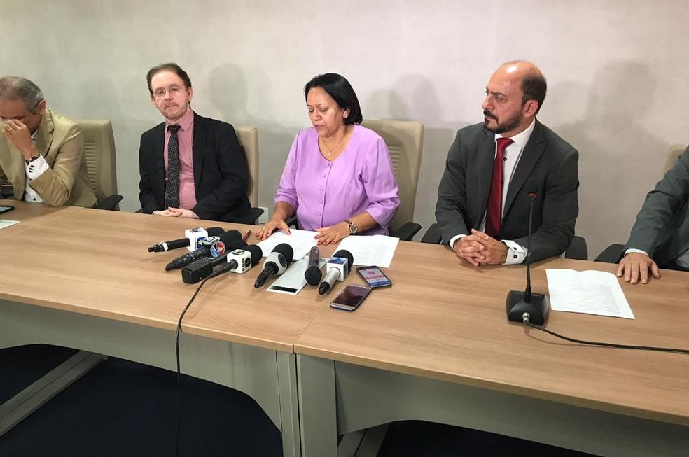 Fátima Bezerra (PT) anuncia primeiras ações à frente do governo do estado, após reunião nesta quarta-feira (2).  — Foto: Kleber Teixeira/Inter TV Cabugi