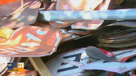 Furto e vandalismo em placas de sinalização de trânsito geram prejuízos em Descalvado