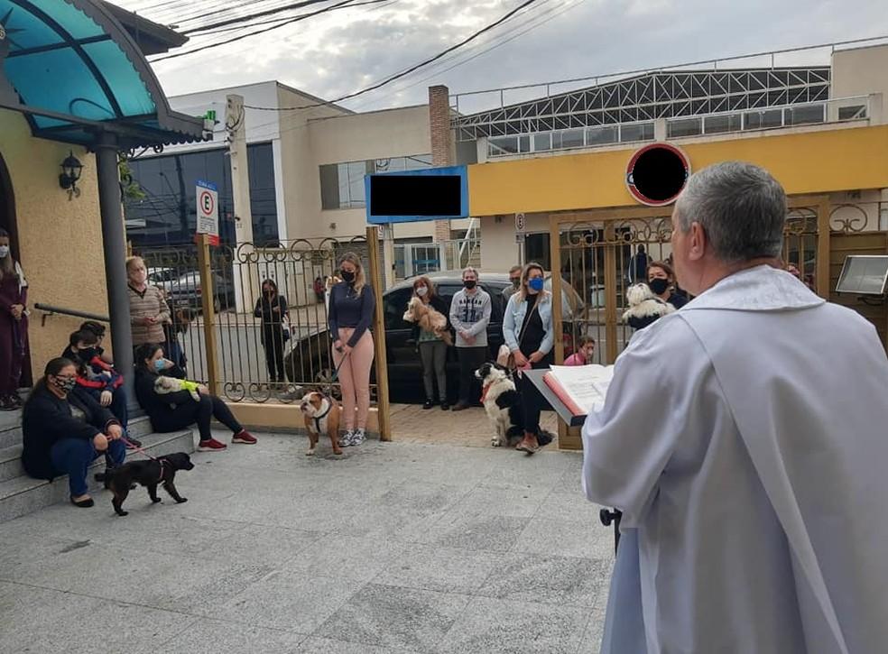 Fiéis levaram cães para receberem benção em Boituva — Foto: Paróquia de São Roque/Divulgação