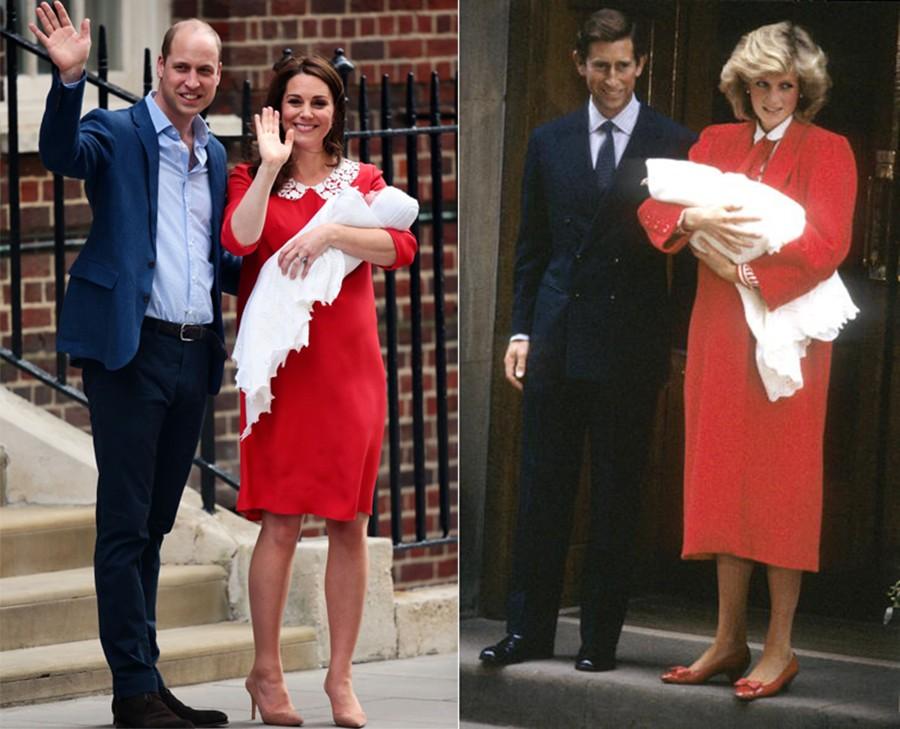 Kate Middleton deixa a maternidade com look semelhante ao de Lady Di após o nascimento de Harry (Foto: Getty Images)