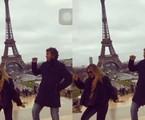Ingrid Guimarães, a Silvana de 'Bom sucesso', curte férias em Paris com o marido, o artista plástico René Machado, e a filha, Clara. Ela postou um vídeo no Instagram dançando em frente à Torre Eiffel | Reprodução