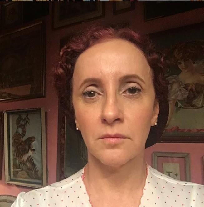 Gorete Milagres caracterizada como Rosicleds para o filme 'As aparecidas' (Foto: Reprodução)