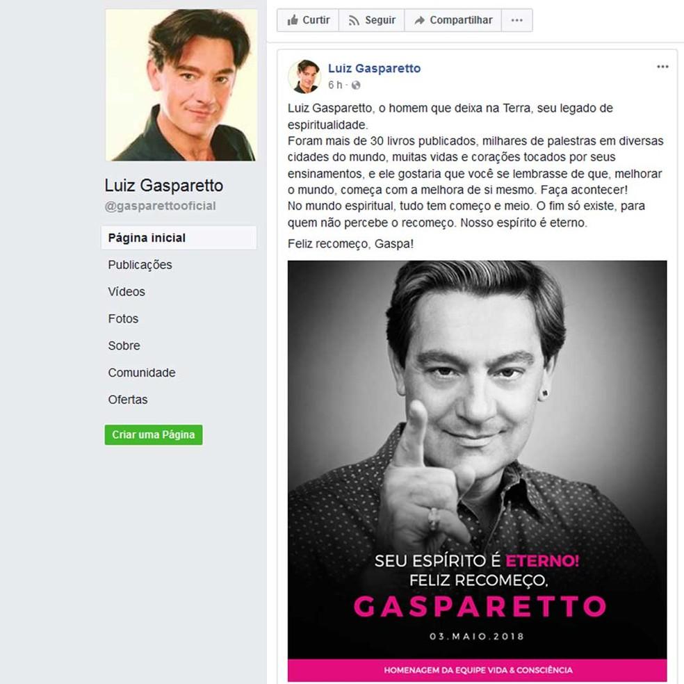 Mensagem no perfil de Luiz Gasparetto no Facebook — Foto: Reprodução / Luiz Gasparetto / Facebook