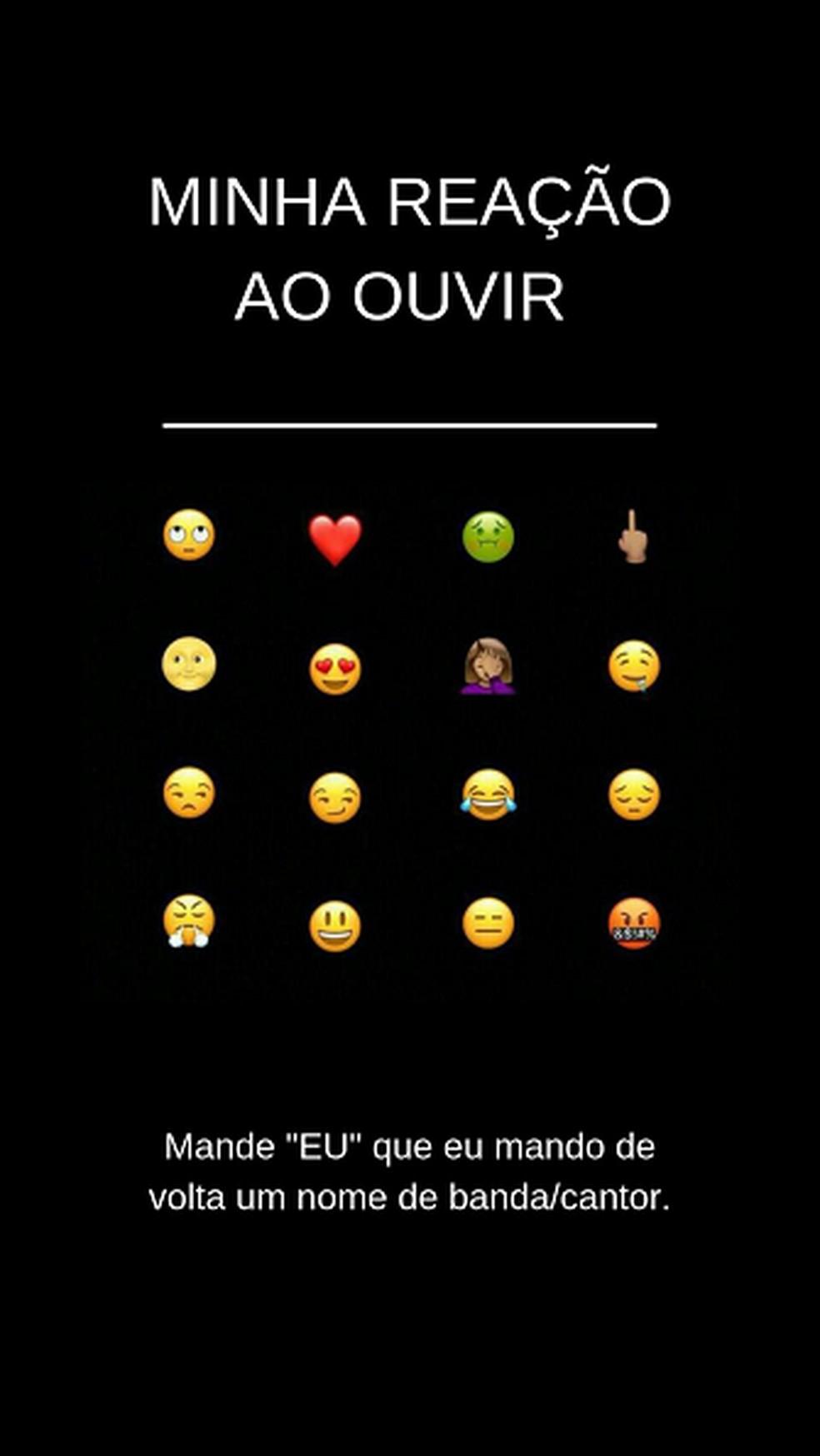 Interessados devem reagir a banda/cantor selecionando emojis nesta brincadeira para status de WhatsApp — Foto: Reprodução/Pinterest