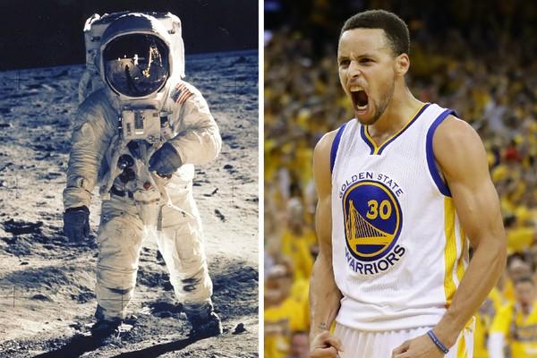 O astronauta Neil Armstrong em 1969, durante sua viagem à Lua, e o jogador de basquete Stephen Curry (Foto: Getty Images)