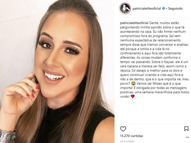 Patrícia Leite fala de affair de Kaysar e Jéssica no BBB18 (Foto: Reprodução/Instagram)