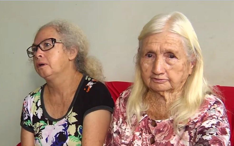 Leonina Machado e a filha dela, Maria Lúcia Machado Dias, em Goiás (Foto: TV Anhanguera/Reprodução)