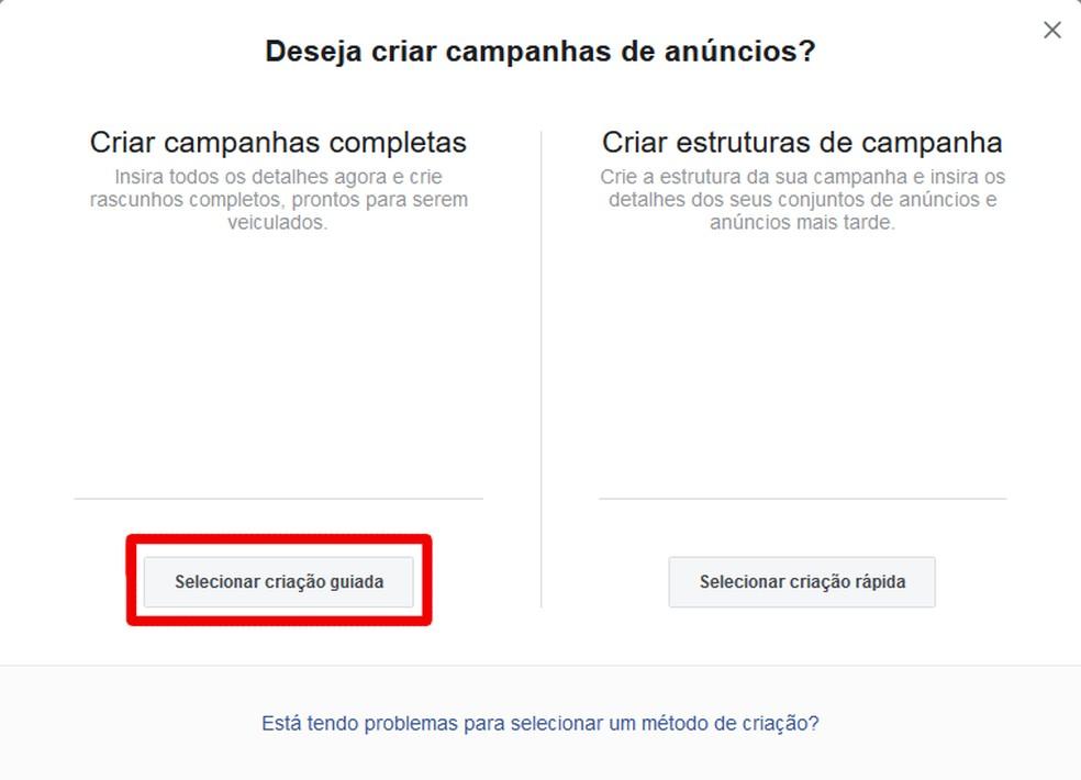 Janela para escolher criar um anúncio ou estruturas — Foto: Reprodução/Thiago Siqueira