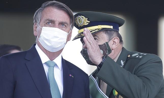 Jair Bolsonaro e o general Paulo Sérgio Nogueira no Dia do Soldado