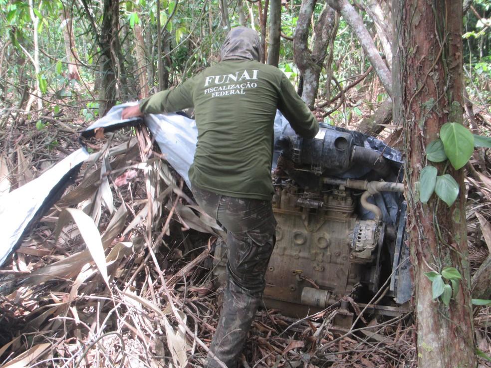 Garimpo ilegal é destruído pela Funai na Terra Indígena Yanomami — Foto: Funai/Divulgação