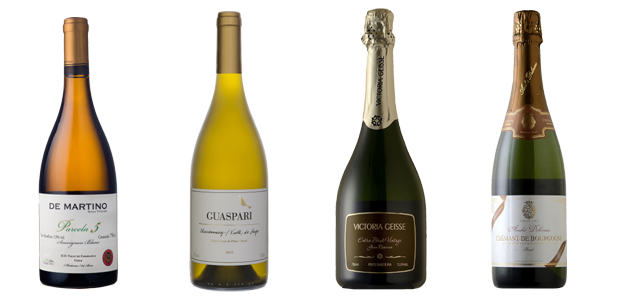 FRUTOS DO MAR | De Martino Sauvignon Blanc Single Vineyard Parcela 5 2017, da Decanter (R$194); Guaspari Chardonnay Vista do Lado 2015, da Vinícola Guaspari (R$168); Espumante Victoria Geisse Extra Brut Vintage Gran Reserva, da Grand Cru (R$149) e Espuman (Foto: Divulgação)