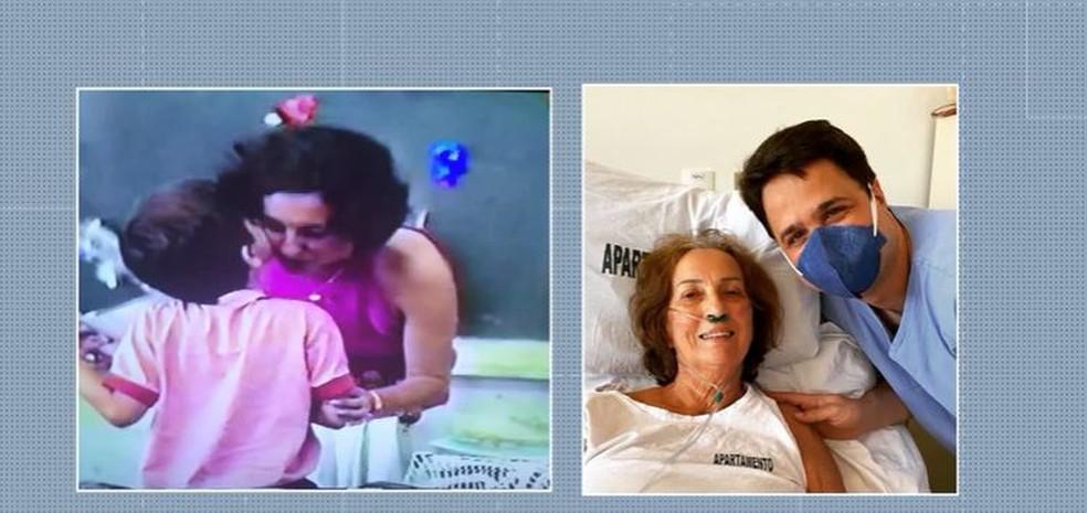 Aluno reencontra professora após 35 e ajuda em seu tratamento com a Covid-19 — Foto: Reprodução/TV Globo