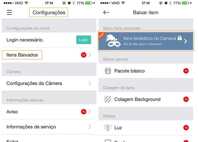 Acesse as configurações e baixe o pacote de carnaval no iOS (Foto: Reprodução/Barbara Mannara)