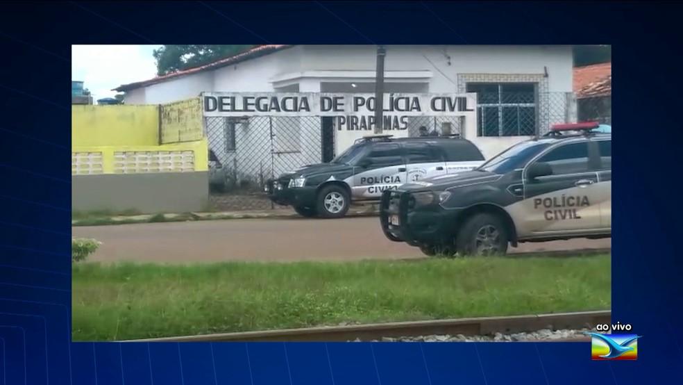 Bandidos invadem Delegacia de Polícia Civil em Pirapemas (Foto: Reprodução/TV Mirante)