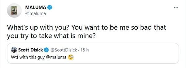 A discussão entre o músico colombiano Maluma e o playboy e empresário norte-americano Scott Disick (Foto: Twitter)