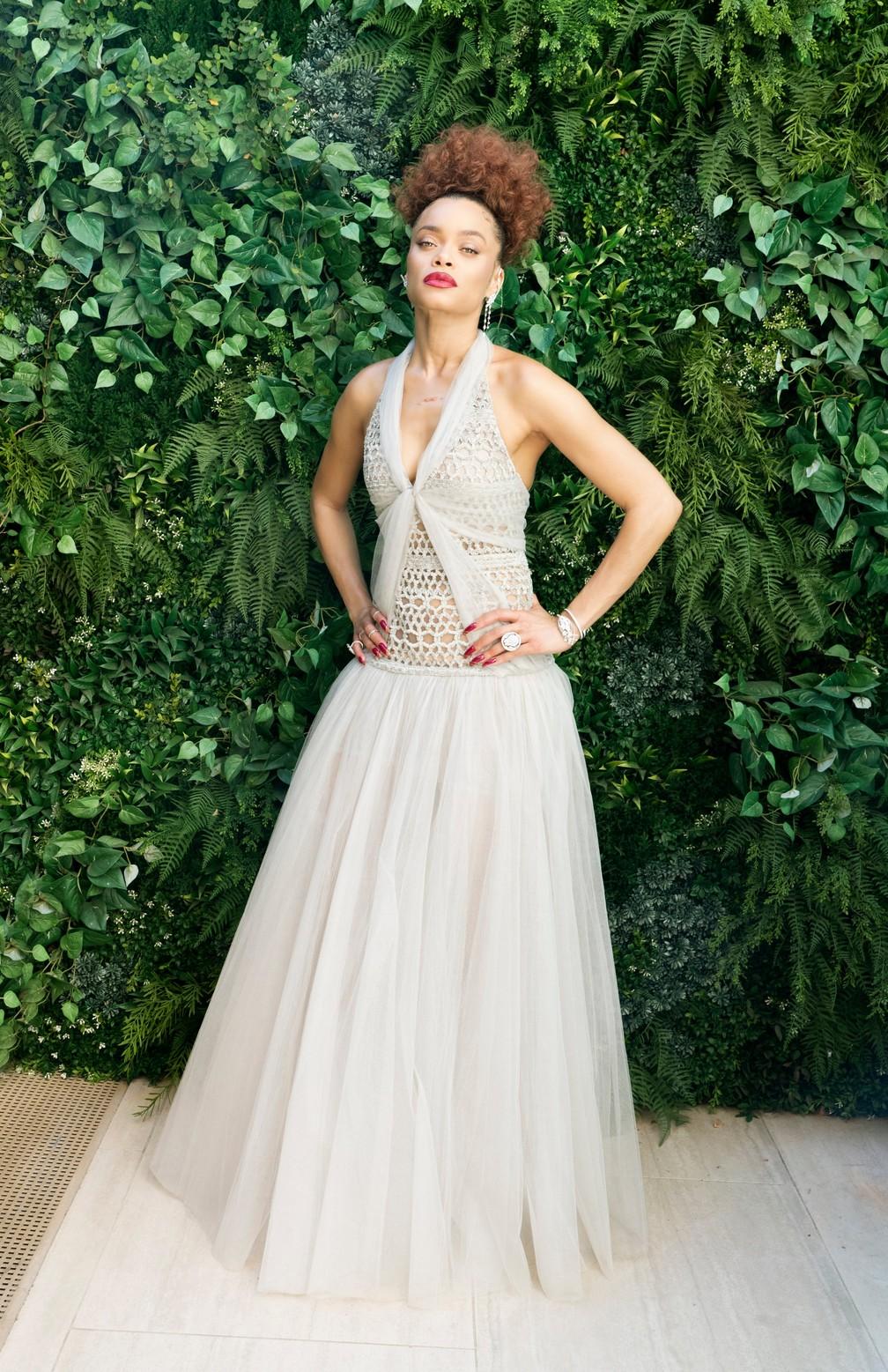 Andra Day no Globo de Ouro 2021; atriz concorre a melhor atriz de drama e canção original pelo filme 'Estados Unidos Vs Billie Holiday' — Foto: Reprodução/Instagram/GoldenGlobes