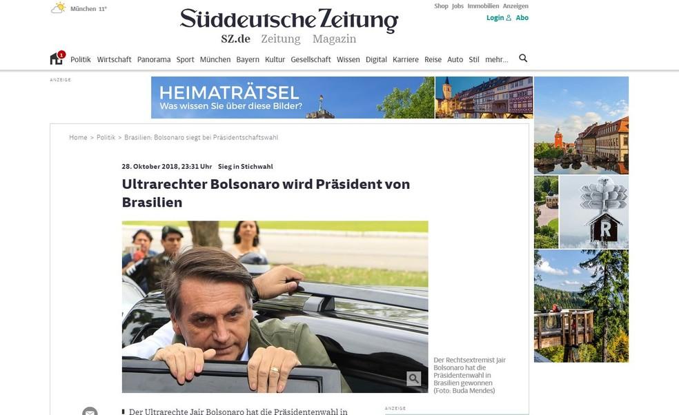 Jornal alemão noticia eleição de Bolsonaro — Foto: Reprodução/Sueddeutsche Zeitung