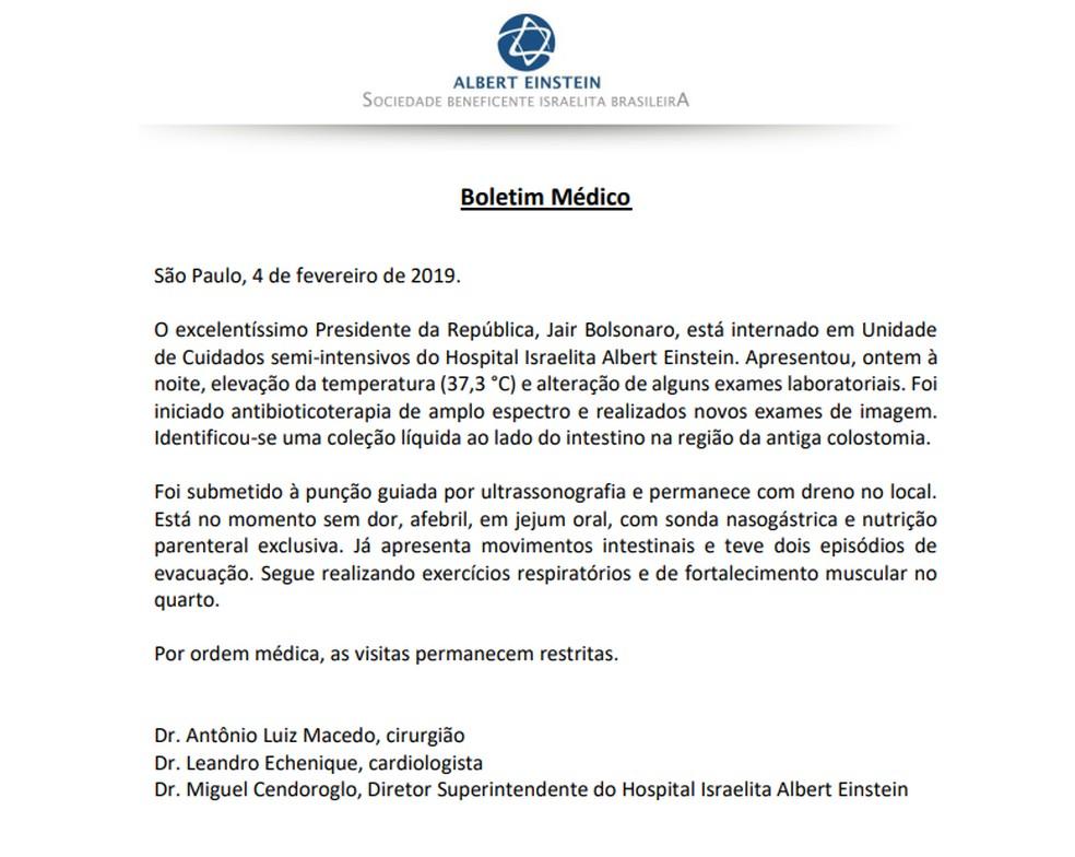 Bolsonaro coloca dreno e segue com sonda nasogástrica, diz boletim médico — Foto: Reprodução