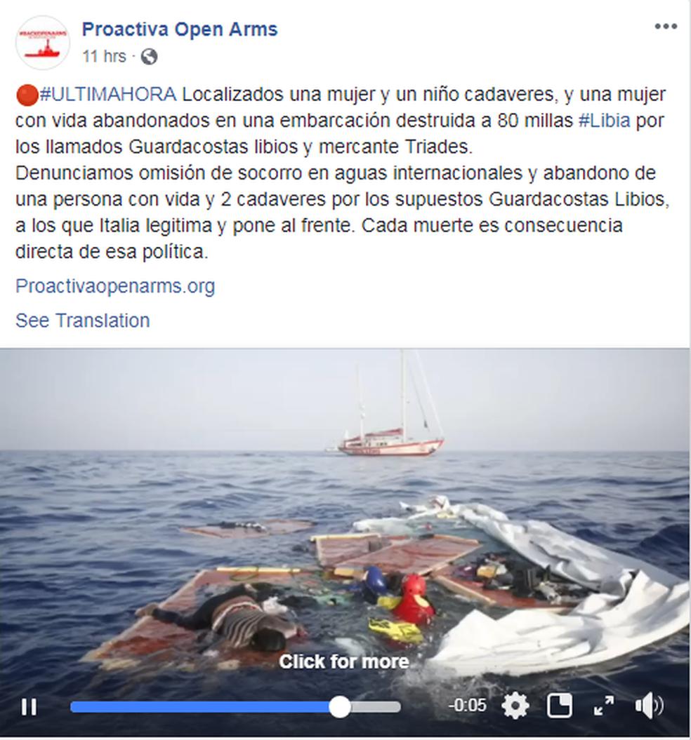 Vídeo publicado em rede social mostra o momento do resgate da camaronesa (Foto: Proactive Open Arms/Reprodução/Facebook)