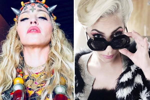 As cantoras Madonna e Lady Gaga (Foto: Instagram)