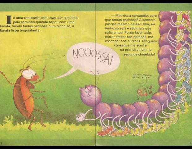 Página do livro original, em que a barata convence a centopeia a ter apenas seis pernas (Foto: Reprodução)